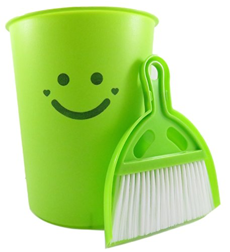 Wastebasket with Dustpan and Brush Set (3 Piece) 1 1/2 Gallon 9 3/4