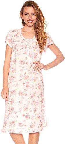 Floopi Womens Nightgown Sleepwear Cotton Pajamas - Womans Short Sleeve Sleep Dress Nightshirt (3X, Pink-00104)