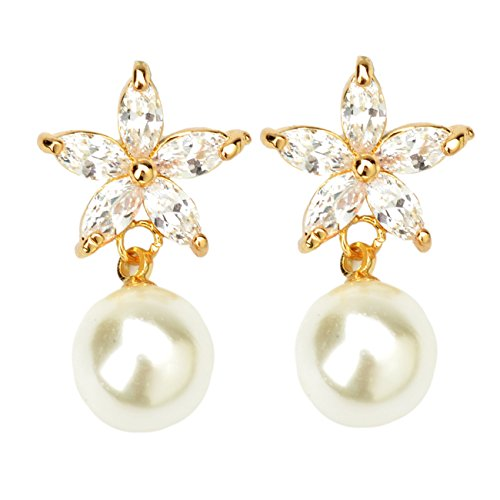 StarrY Womens Sexy Queen Gold Plated Flowers Stars Round Pearl Stud Earrings (Sexy Costumes For Guys)