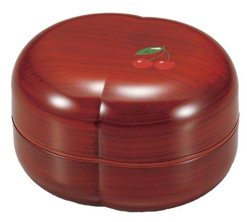 Japanese Two-tier Design Bento Lunch Box Hakoya Range Club Peach Shape Small Bowl Grain Cherry RED 51595