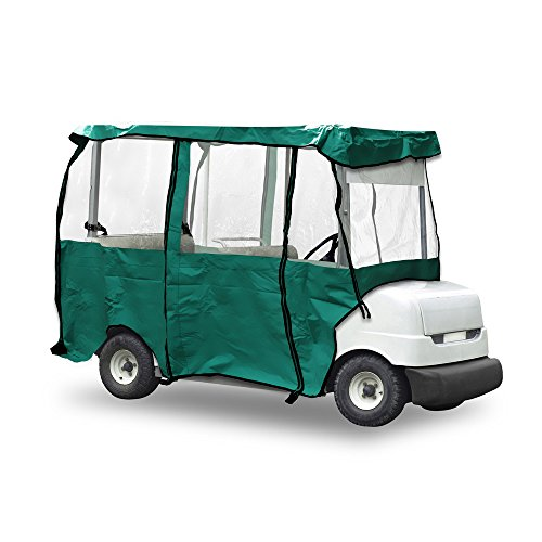 Universal Golf Cart Protective Cover - Deluxe 4 Passenger Four Sided Golf Cart Protection Enclosure w/ Zip Panels, Clear Window, Travel Storage Case, Fits Carts Up to 95 Inch - Pyle PCVGCE37 (Olive) ()