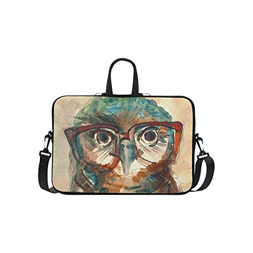 InterestPrint Classic Personalized Owl with Hipster Glasses Watercolor 15.4