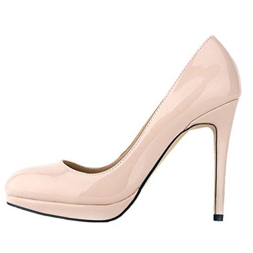 Slip Wedding Women's HooH Dress Shoes On Beige Pumps Pumps High Platform Heel zUxwxTfAq