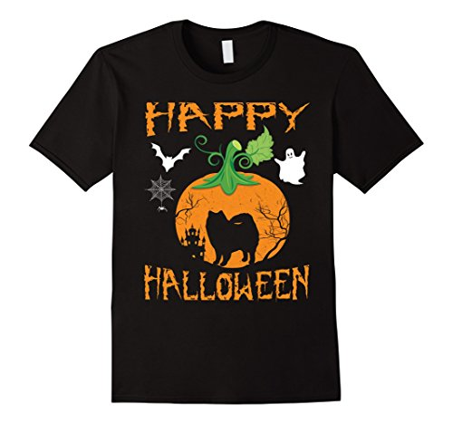 Eskimo Halloween (Mens AMERICAN ESKIMO Dog In Pumpkin Happy Halloween T-Shirt Gift XL Black)