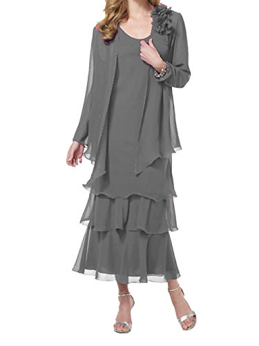 ModeC Two Piece Mother Of The Bride Dresses Womens Tea Length Chiffon Formal Gown Grey US20W