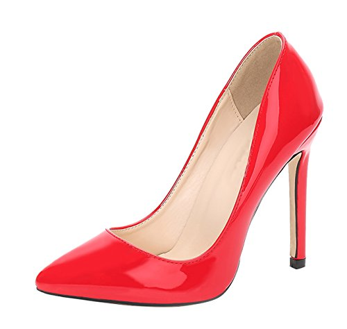 Picture of CAMSSOO Women's Sexy Pointed Toe Pumps Dress Slip on Stiletto Wedding Party Basic Shoes Red PU Size US7.5 EU39