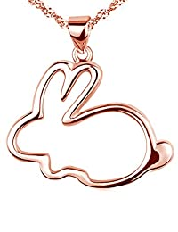 Paialco 925 Sterling Silver Bunny Pendant Necklace 1 x 1 Inch, Rose Gold Plated