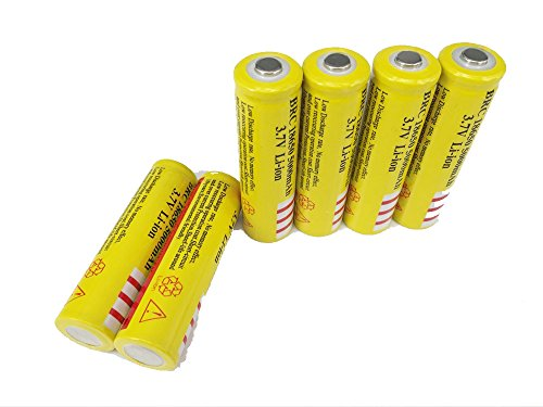 Price comparison product image ON THE WAY®6X BRC 18650 Battery 5000mAh1 3.7V Li-ion Rechargeable Button Top Battery Yellow Low Discharge Rate No Memory Effect Battery for Flashlights