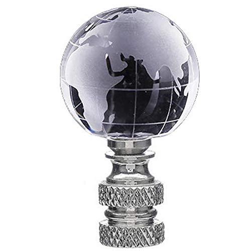 Crystal World Map Lamp Finial- Polished Nickel