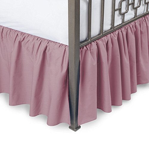 Ruffled Bed Skirt with Split Corners - King, Rose, 21 Inch Drop Bedskirt (Available in and 16 Colors) Dust Ruffle.