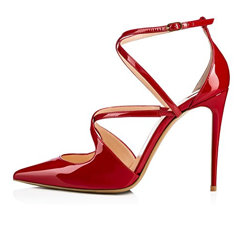 Pompa Trasversale Cintura Pelle Sqy Sandali Vestito Red Manuale Verniciata Appuntito Donna qFwI0xIga
