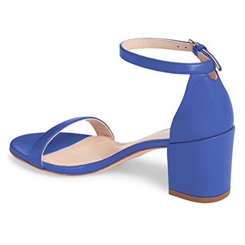 Size Sandals Women Royal FSJ Classic Shoes Blue 15 Comfort Heels 4 Chunky Ankle US Strap Toe Office Mid Open BOIBRq
