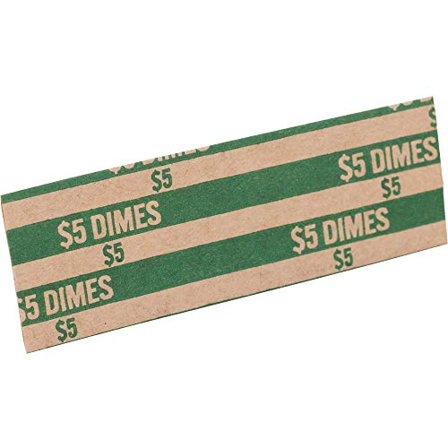 (Sparco TCW10 Coin Wrapper, 60 lb, Dimes, 5.00, 1000/PK, Green)