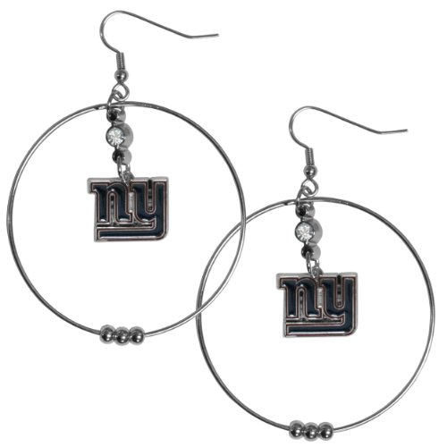 NFL New York Giants Hoop Earrings, 2-Inch - New York Giants Jewelry