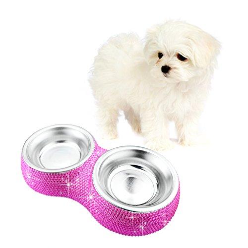 Soleebee Bling strass Haustier Hundefutter Wasser Futterspender Schüssel Doppelgebrauch Teller,Rose Rot