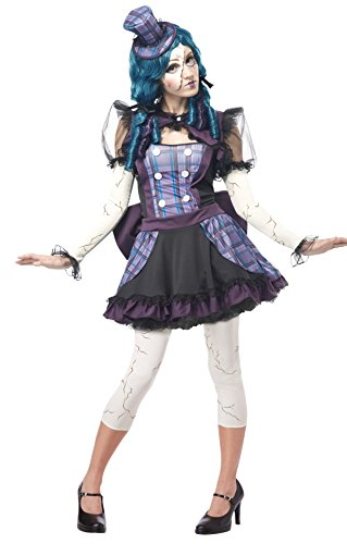California Costumes Women's Broken Doll Sexy Creepy Steampunk Victorian Costume, Black/Purple, Large (Scary Rag Doll Costumes)