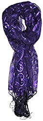 Purple Sequin and Lace Peacock Patterned Embellished Wrap