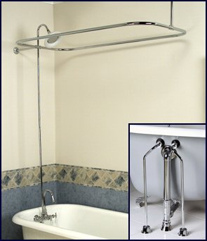 Complete Chrome Add on Shower Combo Set for Clawfoot Tub  Faucet Riser