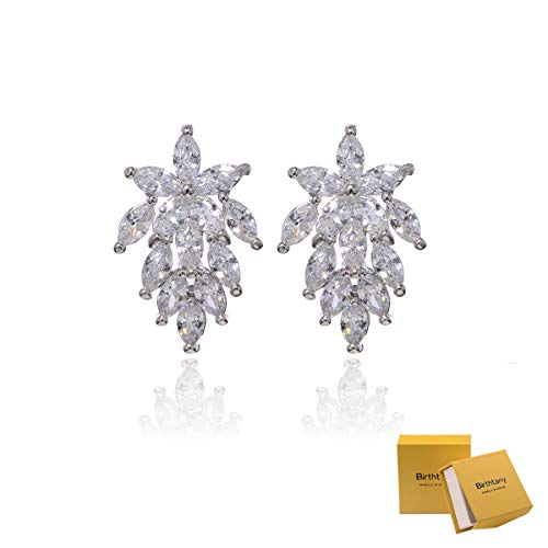 Marquis Earring Settings - Women's Cubic Zirconia Cluster Earrings - Sterling Silver Marquis-Cut Crystal CZ Rhinestone Graceful Curved Floral Leaf Bridal Wedding Earrings for Bride Bridesmaids Gift Party Prom Gala Earrings
