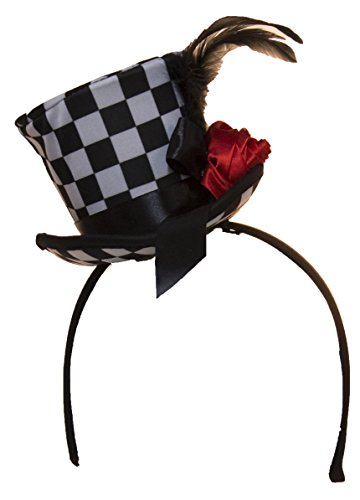 Mini Top Hat Costume (Checkered Mini Top Hat Headband with Feathers & Flower)