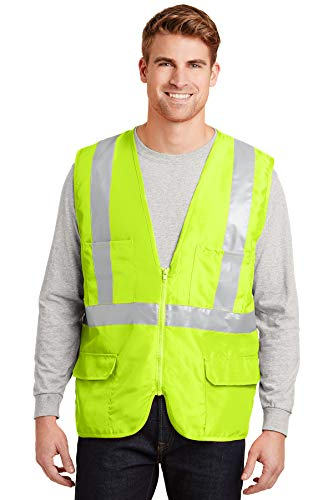 Cornerstone-ANSI 107 Class 2 Mesh Back Saftey Vest (Medium, Safety Yellow/Reflective)