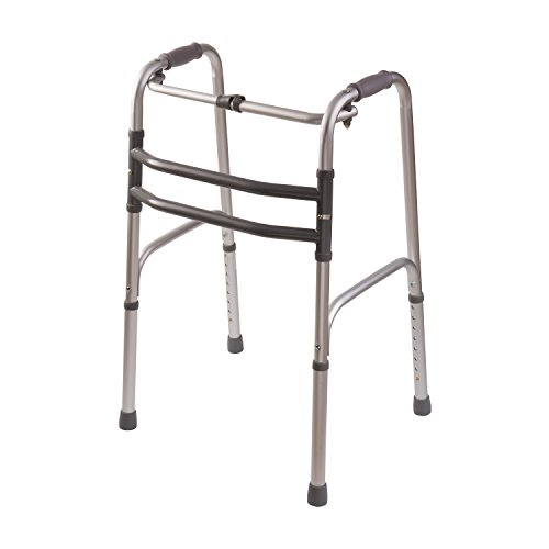 DMI Lightweight Aluminum Single Release Folding Walker with Soft Foam Handgrips, Adjustable Height, Silver, 250 lbs by Duro-Med