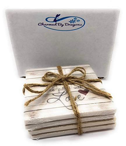 (Farmhouse CERAMIC Coasters Set of 4 MADE IN USA In Gift Box (White Wash Wood))