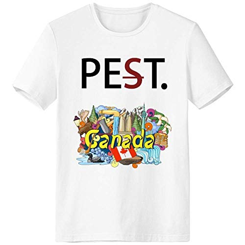 Rocky Mountains CN Tower Maple Canada Pet But Not Pest White T-Shirt Short Sleeve Crew Neck Sport