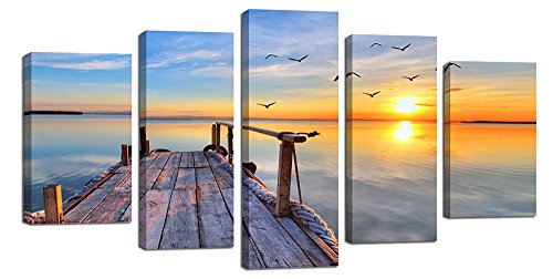 Ardemy Canvas Wall Art Painting Blue Sea Bridge Sunset 5 Panels/Set Large Size Landscape, Modern Picture Gallery Wrapped Giclee Prints for Living Room Bedroom Bathroom Home and Office Decor