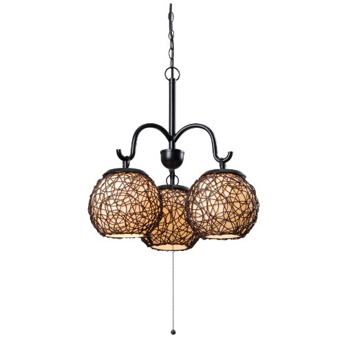 Kenroy Home 93403BRZ Castillo 3-Light Outdoor Chandelier, Blackened Bronze Finish