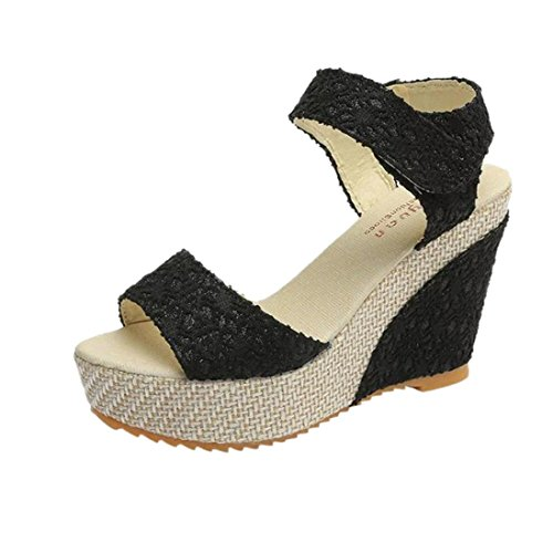 Lolittas Ladies Women Bohemian Wedge Sandals,Black High Heel Platform Strappy Open Toe Wide Fit Bridal Cushioned Outdoor Shoes Size 2-6 Black