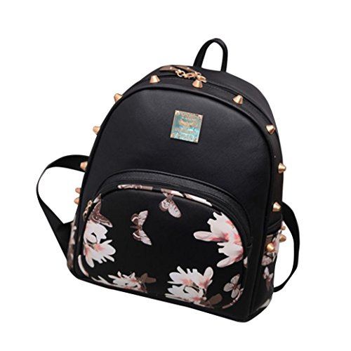 Black Patent Bean Bag - IEason bag, Girl mini ipad backpack casual lightweight daily backpack (A)