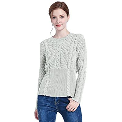 v28 Women's Girl Crew Neck Knit Ribbed Long Sleeve Jumper Pullover Sweater at Women's Clothing store