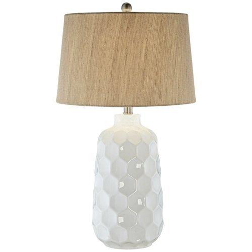 Kathy Ireland Honeycomb White Ceramic Table ()