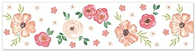 Sweet Jojo Designs Peach and Green Wallpaper Wall Border for Watercolor Floral Collection - Pink Rose Flower