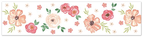 Green Floral Wallpaper Border - Sweet Jojo Designs Peach and Green Wallpaper Wall Border for Watercolor Floral Collection - Pink Rose Flower