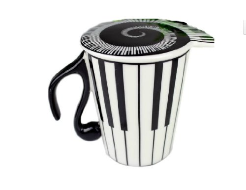 Price comparison product image Moyishi Musical Piano Keys 300ml Coffee Milk Ceramic Mug Gift