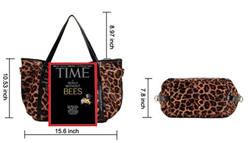 24346460e9d2 Genuine Leather Tote Aibag Leopard Handbag Shoulder Cross Body Bag ...