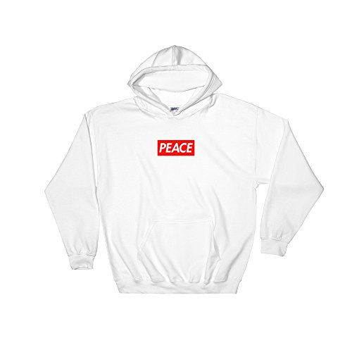 4eaf4a647b1e HypeMonsterz Peace Red Logo Box Hooded Sweatshirt - Bogo Supreme Inspired  at Amazon Men s Clothing store