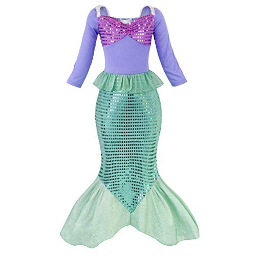 AmzBarley Princess Mermaid Costume for Girls Fancy Party Ariel Costumes Kids Sequins Tails Dress Up Clothes Outfit Size 10 ()