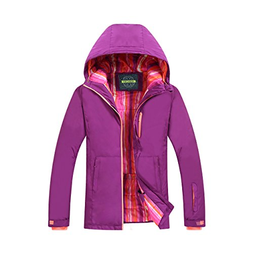 chusanhi Windproof Snow Ski Jacket For Women Insulated Winter Hooded Breathable Outdoor Hiking Coat Waterproof Skiing Jackets Water Resistant Mountain Outwear Purle (Insulated Stadium Jacket)