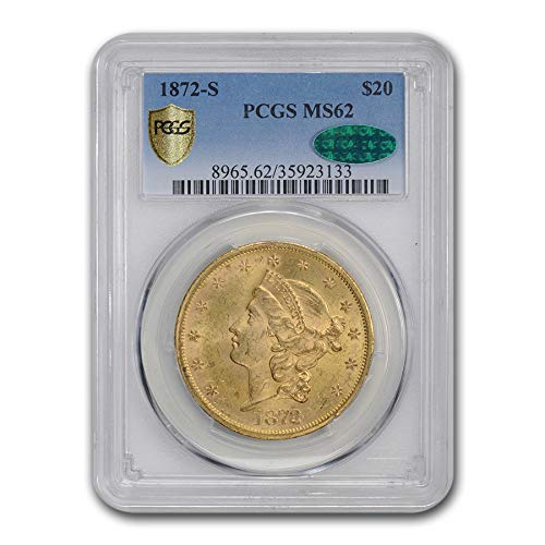 1872 S $20 Liberty Gold Double Eagle MS-62 PCGS CAC G$20 MS-62 PCGS