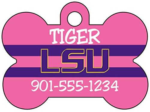 uDesignUSA LSU Tigers Personalized Pink Dog Tag Pet Id Tag w/Your Pet's Name and Number