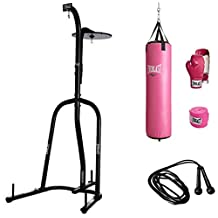 Bundle of 5 Everlast Station Heavy Bag Stand, Everlast 70 lb Women's Heavy Bag Kit, and speed jump rope.