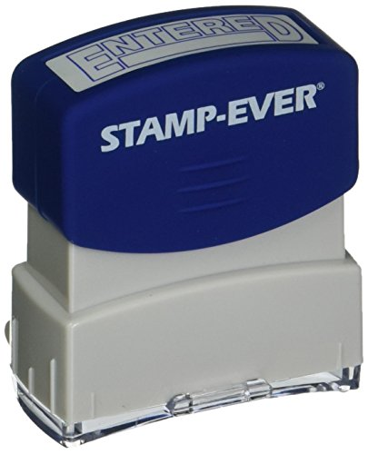 Stamp-Ever Pre-Inked Message Stamp, Entered, Stamp Impression Size: 9/16 x 1-11/16 Inches, Blue (5950)