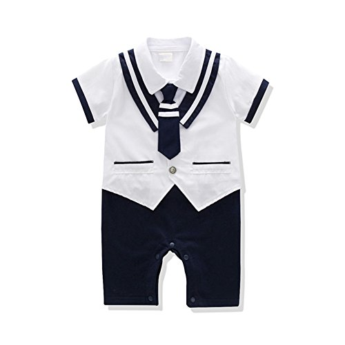 Baby Rompers Boys Navy Uniform And Sailor Style Outfit Jumpsuit Overalls Romper (0-6 Months, White1) -