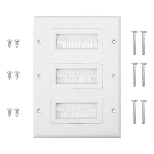 Yosoo Anti-Dust Brushplate Cable Wall Plate Port White Brush Strip Wallplate Insert Outlet Cable Faceplate Mount Multimedia Panel (Style : Triple Gang) ()