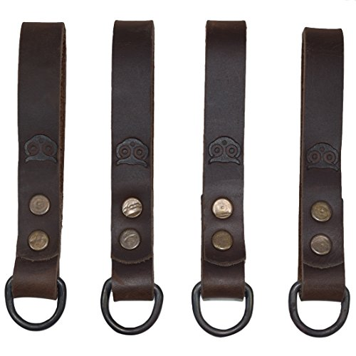 Thick Leather Heavy Duty Tool Belt Accessories Suspender Loop Attachment (4-Pack) Handmade by Hide & Drink :: Bourbon Brown by Hide & Drink