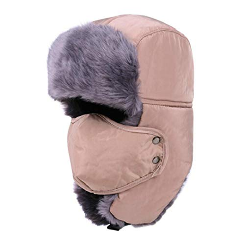 LKIUYN Women Men Faux Fur Bomber Hat Thick Warm Trapper Ear Flap Winter Hat Male Female Earflap Cap with Mask Beige 56-60cm