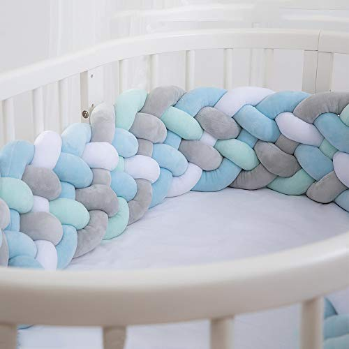Wonder Space Soft Knot Plush Pillow - Baby Crib Bumper, Fashion Nursery Cradle Decor for Baby Toddler and Childern (Blue/Green/Grey, 2.2M-Extra Height)